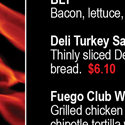 Fuego Lounge Menu's